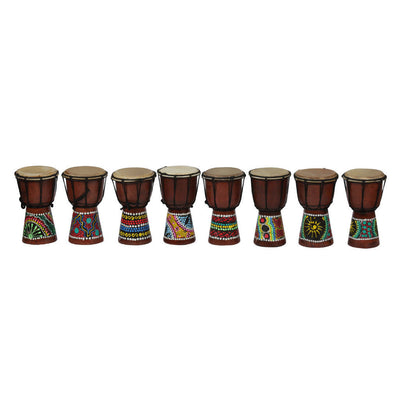 4inch Wooden Djembe Hand-crafted Drum Small Hand Percussion Random Pattern