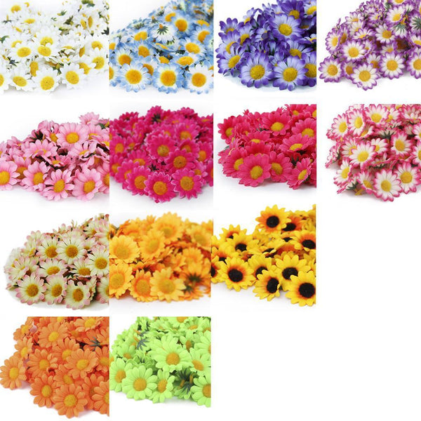 500pcs Artificial Gerbera Daisy Flower Heads Wedding Party Decoration DIY