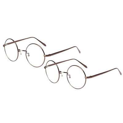 2 Pair Unisex Round Metal Frame Clear Lens Retro Geek Fashion Glasses Specs