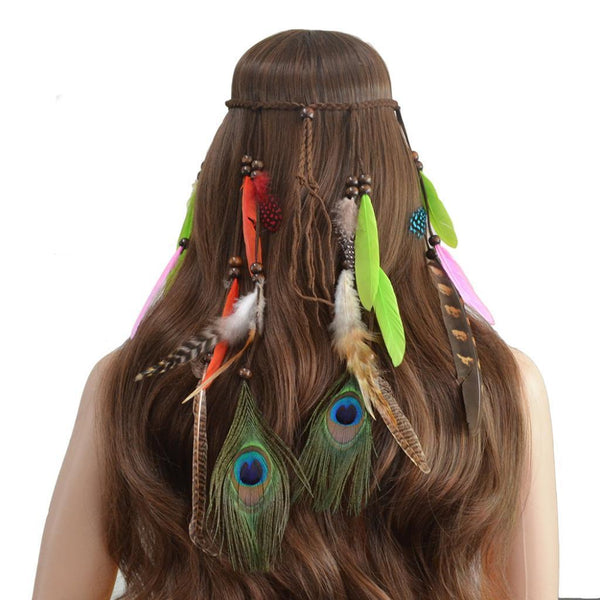 Bohemian Ethnic Style Peacock Feather Headband Boho Tassel Hair Accessories