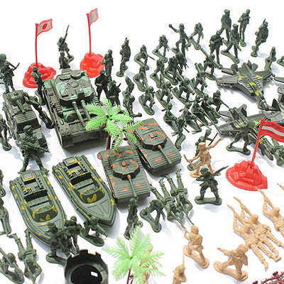 188pcs Action Figures 5cm Army Men Soldier Playset with Tanks Planes Flags