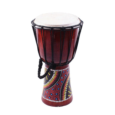 1 Set Wood 6inch Djembe Tabour African Hand Drum with Drumstick Strap