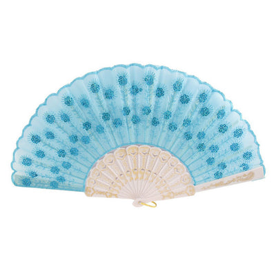 Plastic Rib Sequins Adorn Foldable Dancing Hand Fan sky blue,White O1R1 T2J3