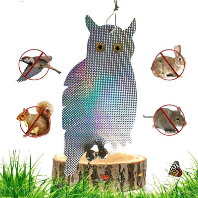 2 Pack Bird Scare Owls - Effective Reflective Hanging Bird Repellent w/ Bell