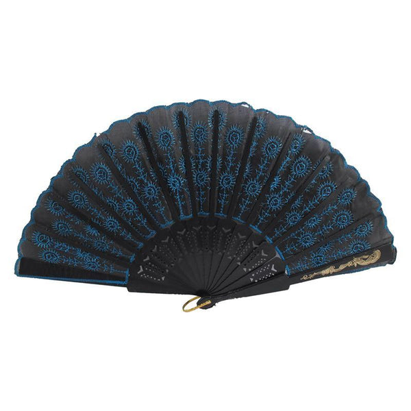 Fire Style Flower Fabric Folding Hand Dancing Fan black + azure C8Q3
