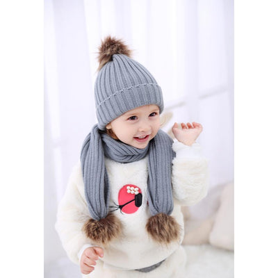 2Pair Baby Kids Warm Faux Fur Pom Pom Crochet Knit Beanie Hat Scarf Cap