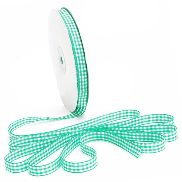 45m Full Reel Cut Lengths Gingham Ribbon Sewing Crafts, 10mm Wide Green F1M3