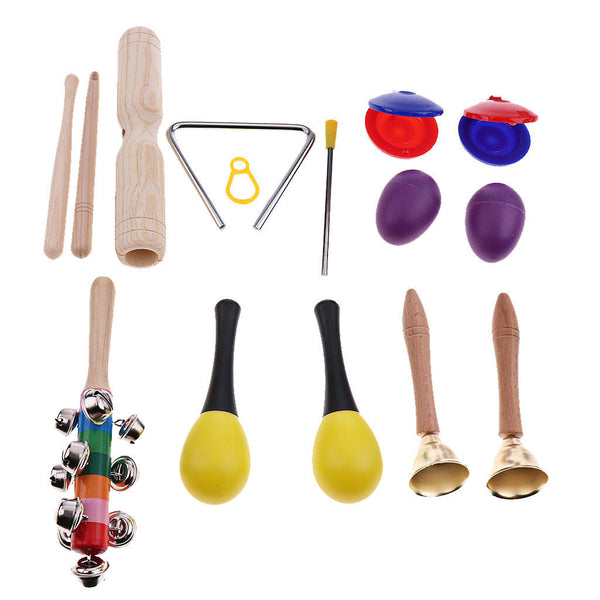 7 Kinds Kids Toddlers Tambourine Drum Percussion Set for Early Education