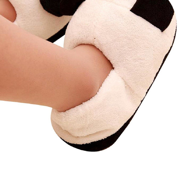 Black and white panda eyes crying face cotton slippers Men's Panda Plush Wi Q4S7