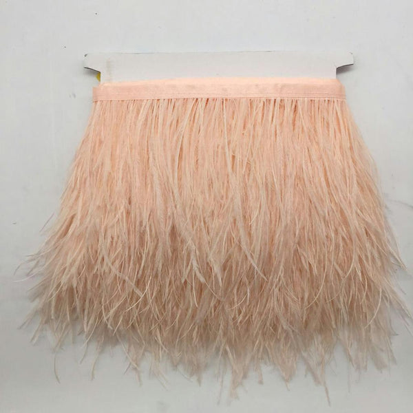 Champagne 1 Yard Ostrich Feather Dyed Fringe Trim Costume Hat Decor 10-15cm