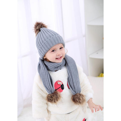 2Pair Winter Unisex Baby Bobble Knit Beanie Hat Crochet Ski Cap Scarf Set