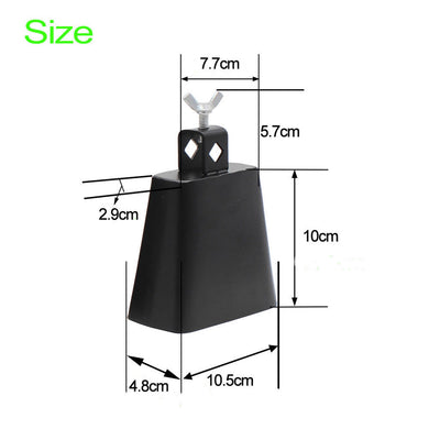 4''+6'' Metal Steel Cowbell with Handle for Drum Set Percussion Instrument