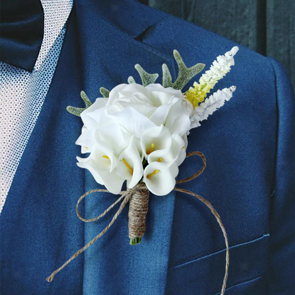 Artificial Calla Flower Corsage Wedding Party Bride Groom Boutonniere Brooch