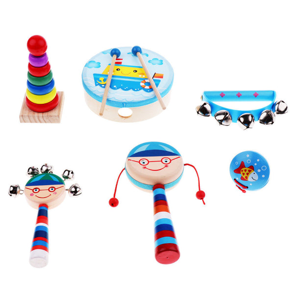 6x Percussion Set Wooden Kids Children Toddlers Music Instruments Kit Toys
