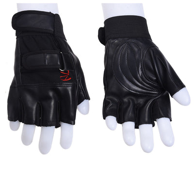 Pair of Chic Black Letter R-shaped Fingerless Gloves For Men W5I4