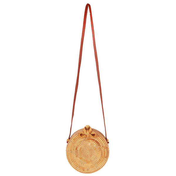 MagiDeal Handwoven Round Sunflower Rattan Beach Bag Women Crossbody Handbags