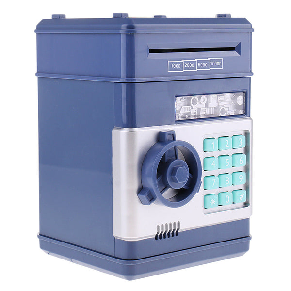 Automatic Password Cash ATM Piggy Bank Coin Money Saving Lock Box Dark Blue