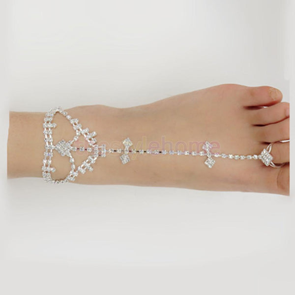 MagiDeal Crystal Slave Anklet Over Toe Ring Foot Chain Beach Party Jewelry