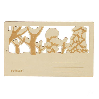 Novelty Greeting Postcard Wooden Gift Card DIY Craft with Cat Chasing Duck