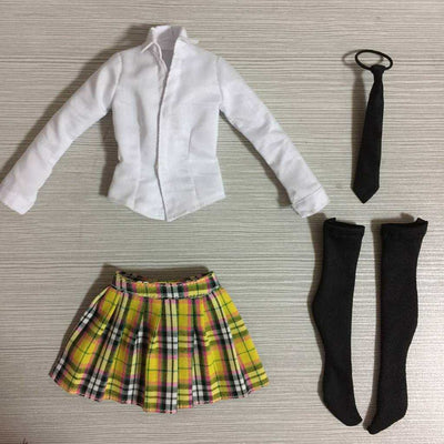 "1/6 Scale White Shirt Yellow Plaid Mini Skirt Tie Set for 12"" Female Figures"