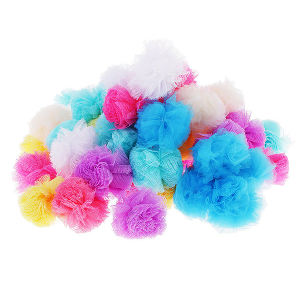 50 Pieces Fluffy Tulle Pom Pom Ball for Key Chain Bag Hanging Accessories