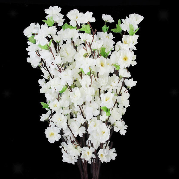 "10 xWhite 26"" Artificial Spring Peach Blossom Cherry Plum Branch Flower"