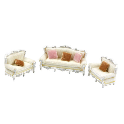 1:25 European Style Sofa Models with Pillows Diorama Wargame Accessory White