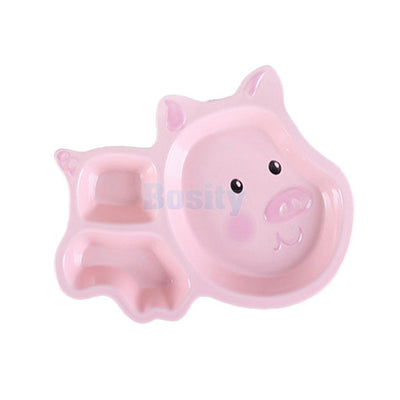 Ceramic Baby Food Divided Tray Child Kids Fun Dinnerware Flatware Plate -Pig
