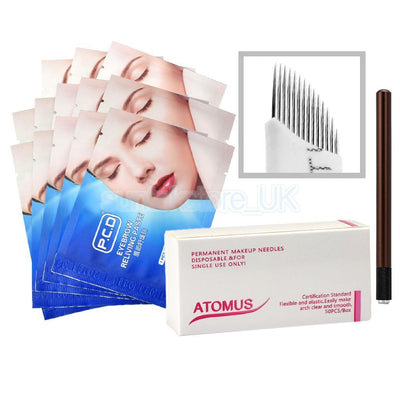 Eyebrow Permanent Tattoo Pencil + 12pcs Relieving Paste & 50x 14pin Needles