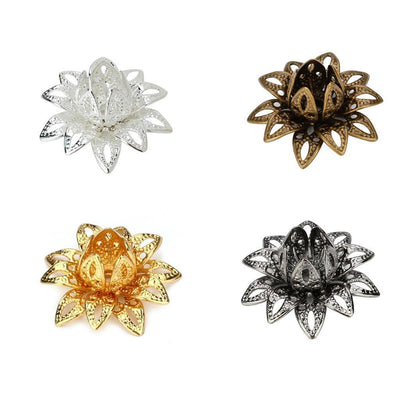 40 Pieces Filigree Flower Cup Shaped Bead Caps Flower Bead End Caps DIY