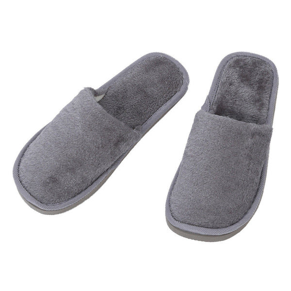 Men Gray Fleeces Soft Warm Slippers UK 8.5 for Feet Length 27 cm WS E7X4
