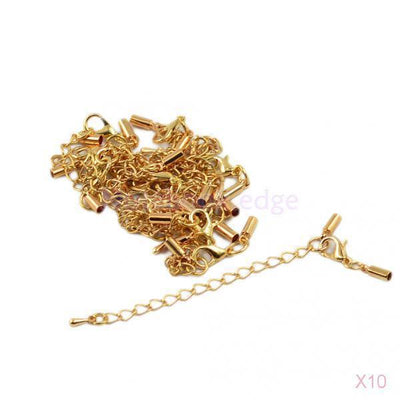 10x 12PCS Ends Cap Cord with Lobster Clasp Extension Chain Craft Jewelry Making