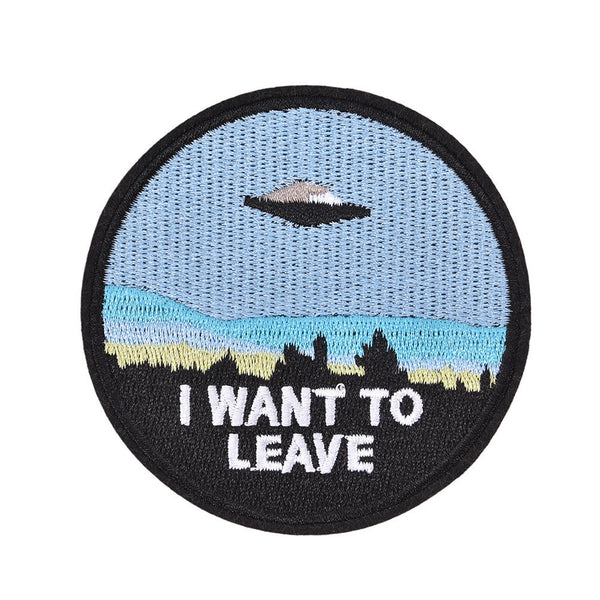 "embroidery  ""i want to leave""  iron on patch badge hat jeans fabric applique、New"