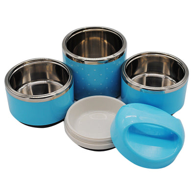 3 Tier Lunch Boxes Thermal Bento Box Insulated Stainless Steel Tiffin Blue