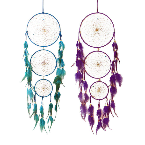 2pcs Handcraft Dream Catcher Feather Beads Wall Hanging Ornament Purple&Blue