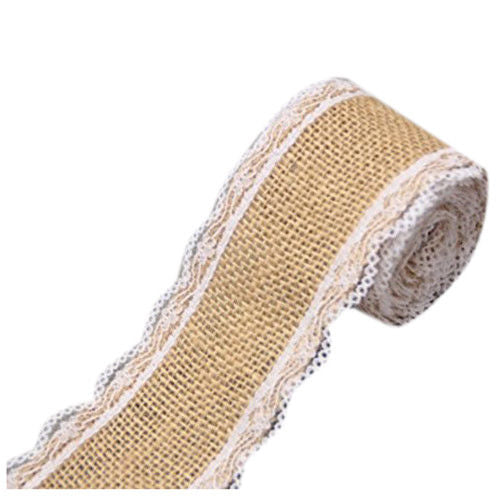 2.5M Hemp Ribbon with Lace Trims Tape Rustic Wedding Decor A Q9Z9