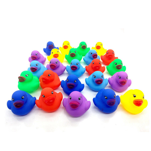 12 Pcs Colorful Baby Children Bath Toys Cute Rubber Squeaky Duck Ducky、New