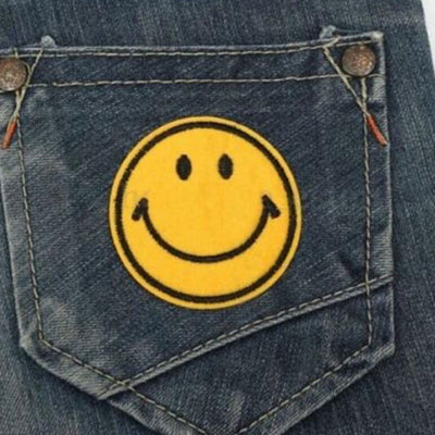Happy Smile Face Yellow Iron On Applique Embroidered Patch DIY Sewing 6cm 5RZ