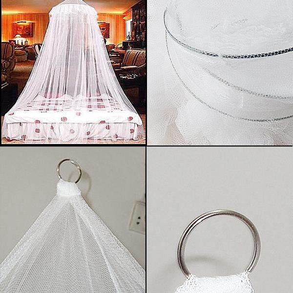 Double Single Queen Canopy Bed Curtain Dome Stopping Mosquito Net Midges InsectZ