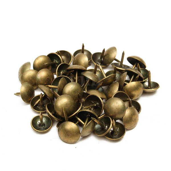 100x Round Head Bronze Nails Tacks Decorative Thumb Safa Tacks 11x11mm