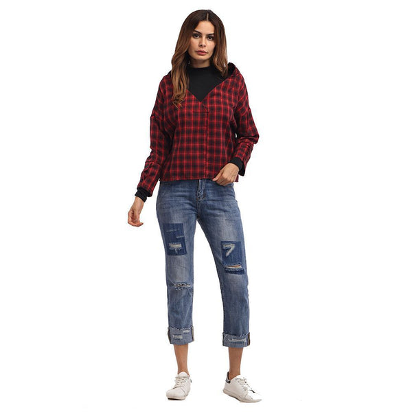 Women Red Plaid Patchwork Shirt Female Check Shirts Long Sleeve Spring Autu N1I7
