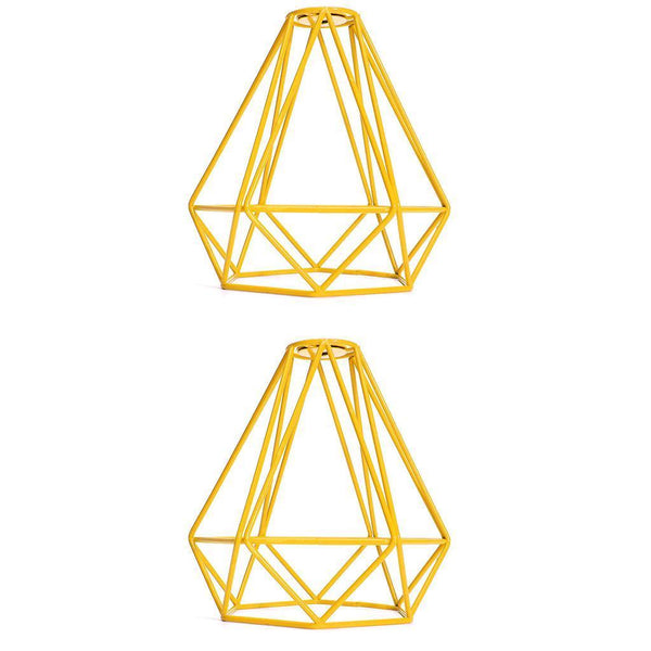 2-Pcs Retro Wire Diamond Pendant Lounge Ceiling Light Cage Lamp Shade Yellow