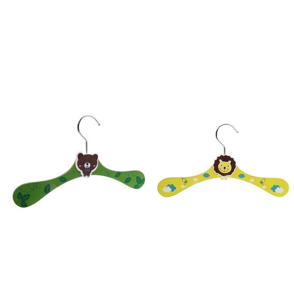2PCS Wood Baby Children Kids Clothes Coat Hangers Travel Green+Yellow