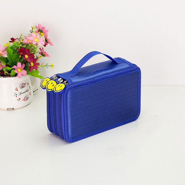 3 Layers Large Pencil Pen Case Travel Cosmetic Brush Makeup Storage Bag Blue