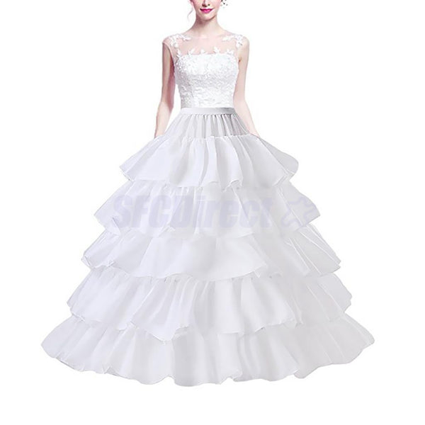 Women's 4 Hoops 5 Layer Wedding Dress Petticoat Quinceanera Gown Underskirt