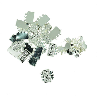 100x Metal 3 Stand Box Clasp DIY Jewelry Findings Necklace Bracelet Fastener