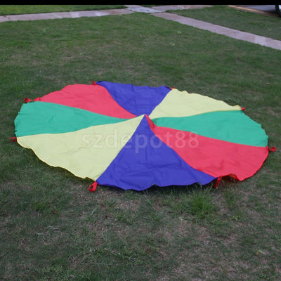 6.5ft Child Kids Play Rainbow Parachute Outdoor Game Exercise Sport 8 Handle