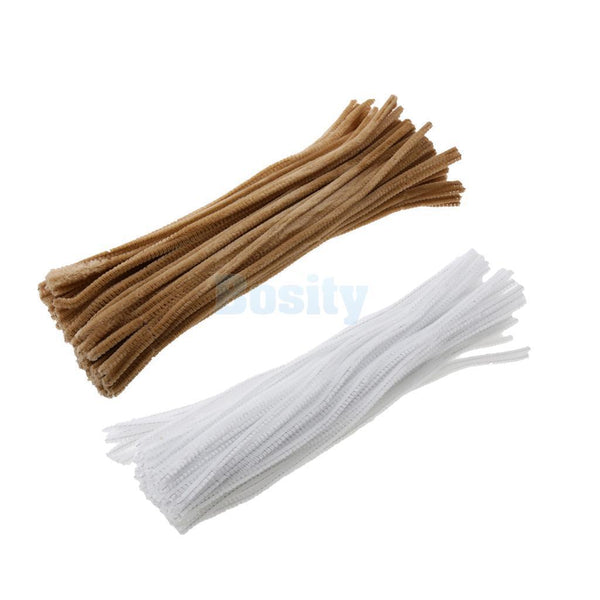 100pcs 30cm Chenille Stem Pipe Cleaner Twist-Flex Rods Sticks Brown& White