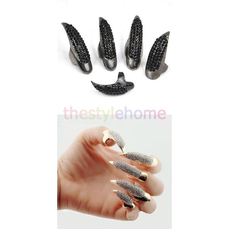 5Pcs Punk Rock Exaggerated Eagle Claw Crystal Finger Tip Nail Rings Black