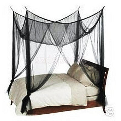 Black 4 Corners Canopy Bed Netting Mosquito Net Full Queen King Size